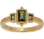 Judith Ripka 14K Gold Three Stone Green Tourmaline Ring - J349017