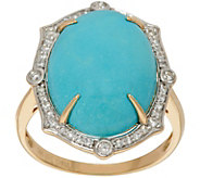 As Is Sleeping Beauty Turquoise & 1/4 cttw Diamond Ring 14K Gold - J349217