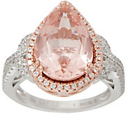 Diamonique and Simulated Morganite Pear Cut Ring, Sterling - J349917