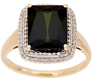 Emerald Cut 4.00 ct Green Tourmaline & Pave Diamond Ring, 14K Gold - J350417