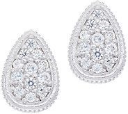 Diamonique Pave Pear Stud Earrings, Sterling - J351217
