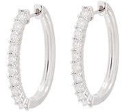 Diamond Elongated Hoop Earrings, 14K, 1.50 cttw, by Affinity - J354017