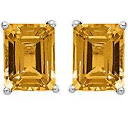 14K White Gold Emerald Cut Gemstone Earrings - J375017