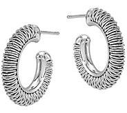 Sterling Textured Hoop Earrings by Silver Style - J375817