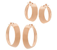 Vicenza Gold Polished Mirror Round Hoop Earrings, 14K