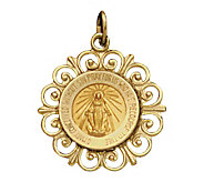 14K Yellow Gold Framed Miraculous Medal - J108218