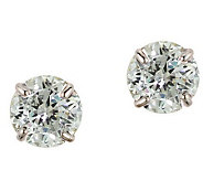 Diamonique 3.50 ct tw 100-Facet Stud Earrings,1 4K Gold - J110218