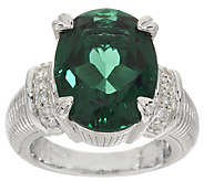 Judith Ripka Sterling 8.00ct Green Synthetic Quartz & Diamonique Ring - J267818