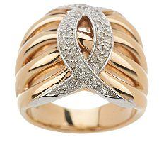 1/5 cttw Diamond Cross-over Design Ring 14K Gold