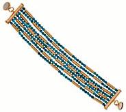 Bronze Multi-strand Turquoise Bead Bracelet by Bronzo Italia - J281218