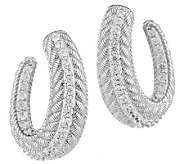 Judith Ripka Sterling 1.95ct Diamonique and Textured Half Hoop Earrings - J285218