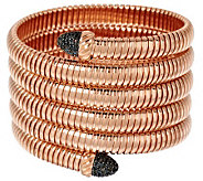 Bronze Average Black Spinel Tubogas Coil Bracelet by Bronzo Italia - J285818