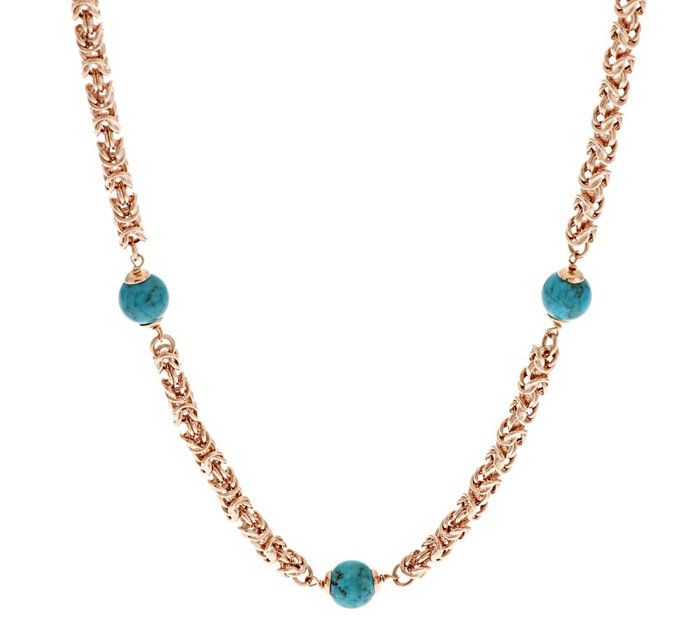 bronze 20 quot turquoise bead byzantine necklace by bronzo italia page 1 qvc
