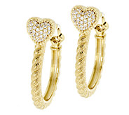 Judith Ripka Sterling & 14k Clad Diamonique Hoop Earrings - J294518