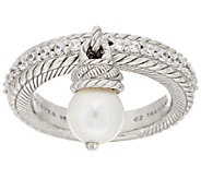 Judith Ripka Sterling Cultured Pearl & Diamonique Charm Ring - J295618