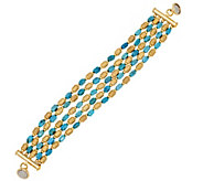 Bronze Multi-strand Turquoise Bead Bracelet by Bronzo Italia - J296318