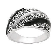 Suspicion Sterling Marcasite Onyx & Mother-of-Pearl Band Ring - J298518