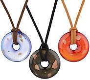 Set of 3 Lampwork Disc Necklaces on Cords by Garold Miller - J307218