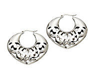 Stainless Steel Cut-Out Hoop Earrings - J308318