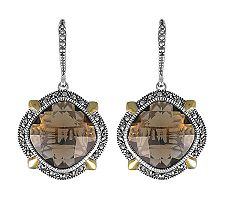 Suspicion Sterling Marcasite & Smoky Quartz Drop Earrings