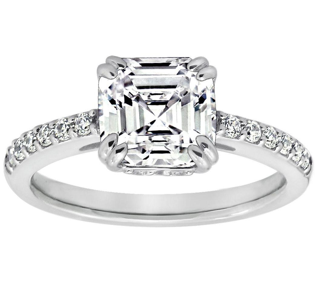 Diamonique 2.60 cttw Asscher Cut Ring, Platinum Clad ...