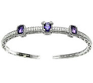 Judith Ripka Sterling Diamonique Cushion Gemstone Hinged Cuff - J310718