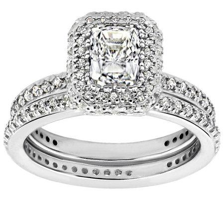 diamonique 2 15 cttw 2 pc bridal ring set platinum clad