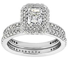 Epiphany Diamonique 2.15 ct tw 2-pc. Bridal Ring Set