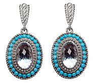 Judith Ripka Sterling Blue Topaz and TurquoiseEarrings - J315218
