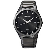 Seiko Mens Black Diamond Accent Dial Dress Watch - J315518