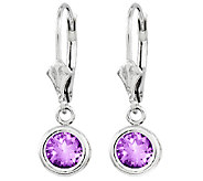 Sterling Round Gemstone Dangle Lever Back Earri ngs - J315818