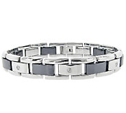 Stainless Steel Mens Bracelet with Ceramic Links - J316218