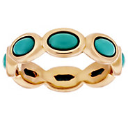 As Is Bronzo Italia Oval Turquoise Eternity Band Ring - J319118