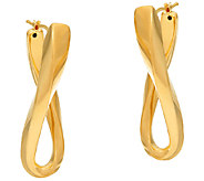 Veronese 18K Clad 1-3/4 Bold Elongated Twist Hoop Earrings - J323718