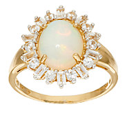 Ethiopian Opal and White Zircon Ring 14K Gold 2.30 cttw - J324418