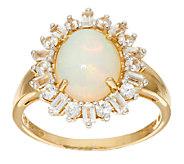 Ethiopian Opal and White Zircon Ring 14K Gold 2.30 cttw - J324418
