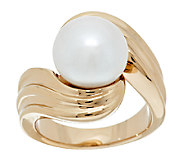 As Is Honora 14K Gold Cultured Pearl 10.5mm Textured Ring - J325118