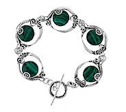 As Is Or Paz Sterling Gemstone Scroll Design 7-1/4 Bracelet - J325218