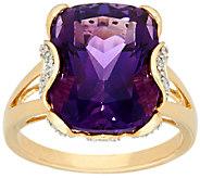 Uruguayan Amethyst & Diamond Bold Ring, 14K Gold 8.00 cts - J327718