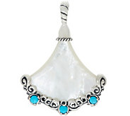 Carolyn Pollack Sterling Silver Mother-of-Pearl & Turquoise Enhancer - J328218