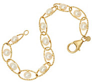 Honora 14K Gold Cultured Pearl 6.0mm Twist Link 6-3/4 Bracelet, 3.7g - J329118