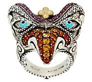 As Is Barbara Bixby Sterling & 18K Multi- Gemstone Garuda Bird Ring - J331418