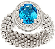 Italian Silver 2.10 ct Blue Topaz Ring, Sterling - J346218