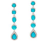 Multi-Cut Sleeping Beauty Turquoise Sterling Drop Earrings - J347618