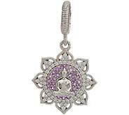 Judith Ripka Sterling Silver Amethyst Lotus Flower Buddha Charm - J347918