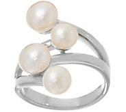 As Is Honora Cultured Pearl Sterling Silver Bypass Sterling Ring - J351918