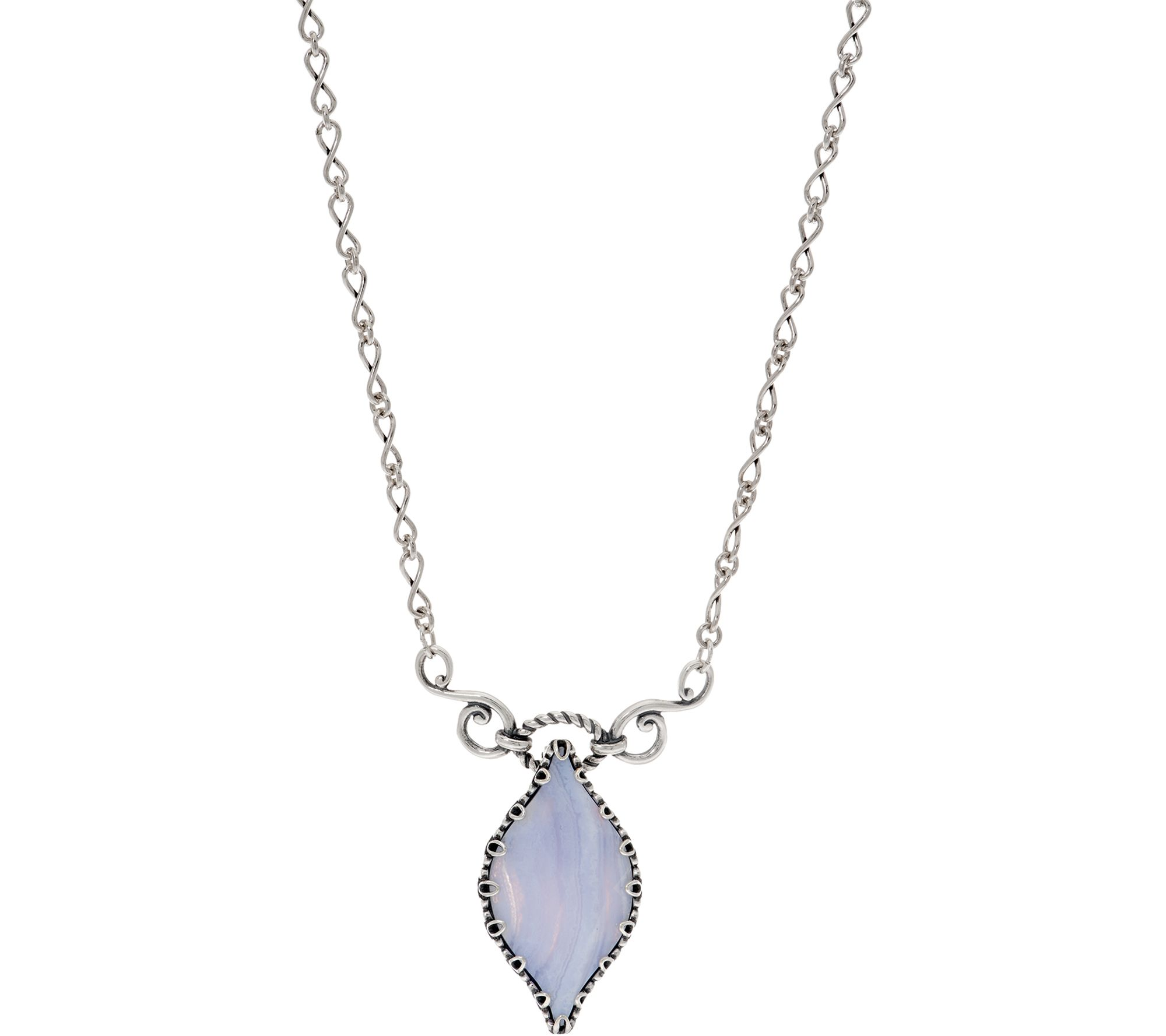 Carolyn Pollack Sterling Silver Faceted Blue Lace Agate Necklace - J353118