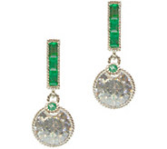 Judith Ripka Sterling Diamonique & Emerald Earrings - J376918