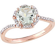14K Gold 1.30 ct Green Amethyst & 1/10 cttw Diamond Halo Ring - J377118