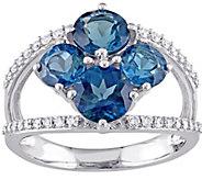 3.15 cttw London Blue Topaz & 1/5 cttw DiamondRing, 14K - J377218